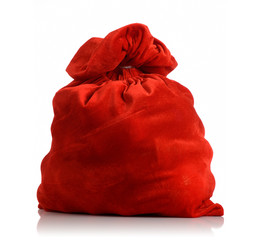 Santa Claus red bag full, on white background.