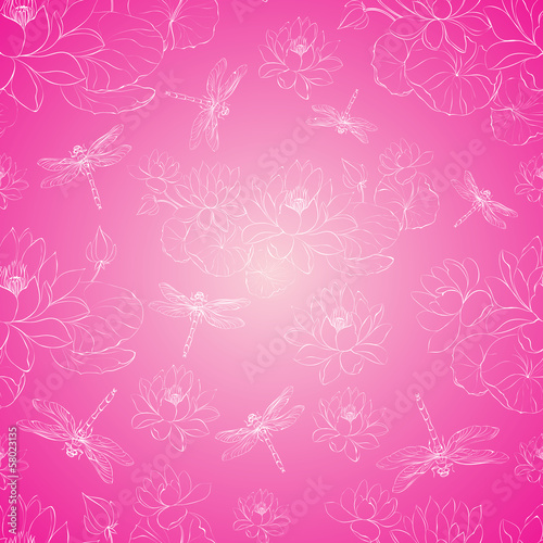 Seamless pattern lotus flower and dragonfly