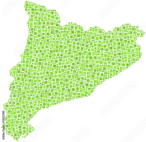 Decorative map of Cataluna in a mosaic of green square