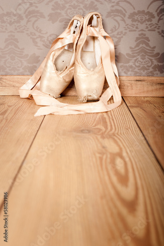 Fotobehang Dance School pair of old ballet shoes