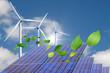 舞い散る葉っぱと太陽光発電の家