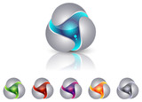 Abstract triangle sphere icons