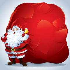 Santa Claus carrying a giant sack