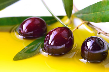 Olive oil and branch of olives closeup, background