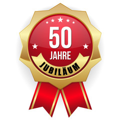 50 Jahre Jubiläum Siegel in gold und rot