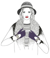 Young girl fashion illustration