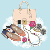Fashion essentials. Background with bag, sunglasses, shoes - 58024902