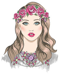 Young girl fashion illustration. Girl with flowers in her hair
