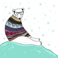 Christmas card with cute hipster polar bear. Bear with fair isle
