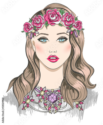 Young girl fashion illustration. Girl with flowers in her hair - 58024900