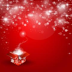 Geschenk auf rotem Weihnachtshintergrund Sterne