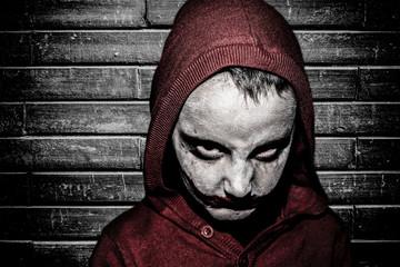 Kid with halloween make up