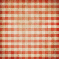 Red grunge checked gingham picnic tablecloth background