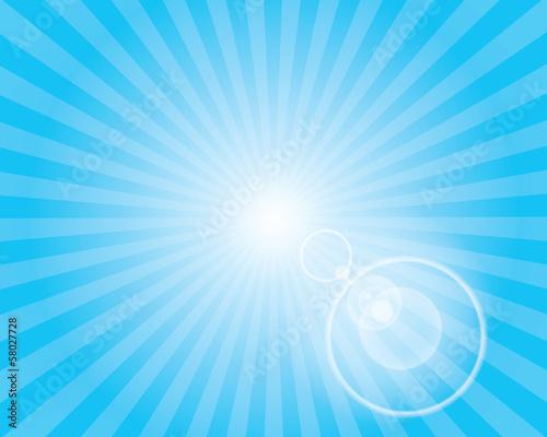 Fotobehang Licht, schaduw Sun Sunburst Pattern with lens flare. Blue sky.
