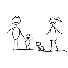 Familie - Vater - Mutter und zwei Kinder