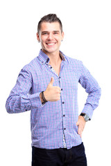 Happy man with thumbs up gesture, isolated on white