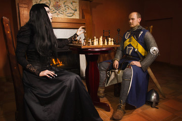 Knight plays chess with death