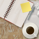 Workspace with coffee cup in composition as concept poster