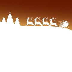 Christmas Sleigh Silent Night Blue Xmas Card