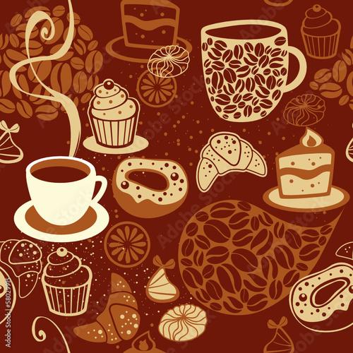 Fototapeta Coffee seamless pattern
