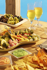 mixed appetizer with wine