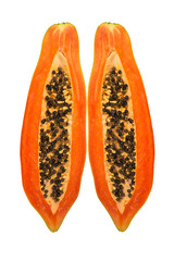 Split Papaya on White Background