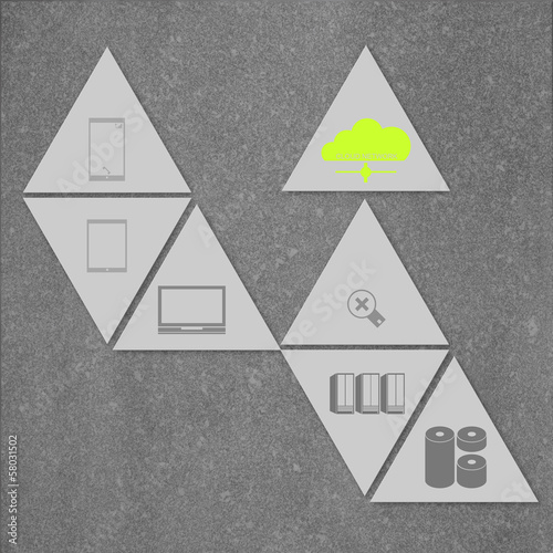 cloud networking on triangle 3d icon tile as concept