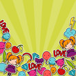 Abstract background with cute kawaii doodles.