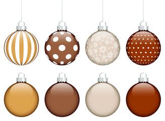 8 Christmas Balls Brown