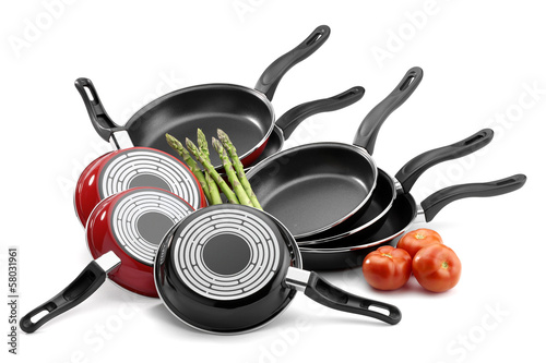 frying pans isolated