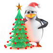 Santa Claus Penguin with his Christmas tree