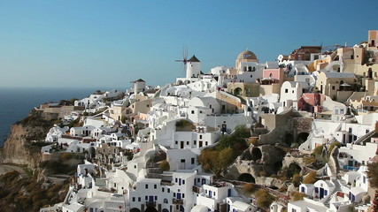 Classic view of Oia village on Santorini island, Greece.