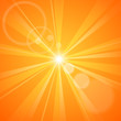 Abstract orange background with sun rays