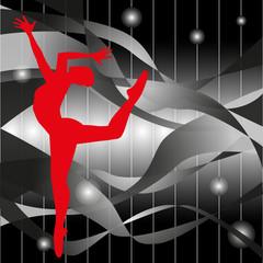 silhouette di ballerina su sfondo astratto