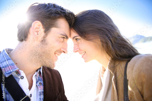 Sweet couple looking at each other's eyes