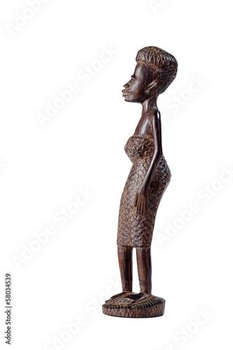 African Statue of Girl Over White