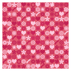 パターン ハート 花柄 赤