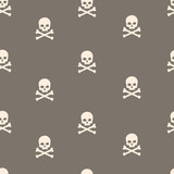 vector seamless pattern with skulls and bones brown background