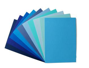 shades of blue in fan arrangement