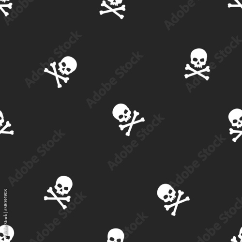 vector seamless pattern with skulls and bones black background