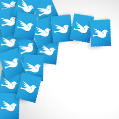 White Twitter In Blue Papers Background