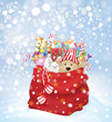 Vector Santa Claus bag full of toys and gifts on snowfall backgr