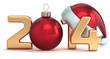 Happy New Year 2014 Santa hat Christmas ball decoration