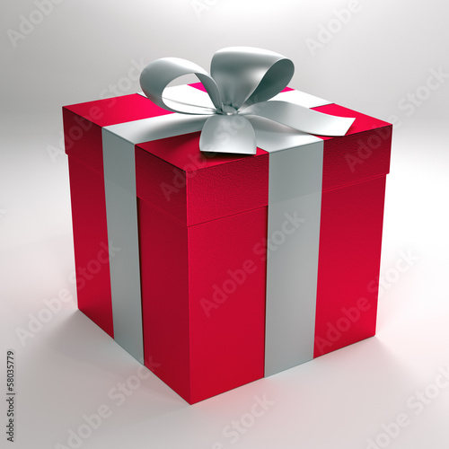 3d illustration of a red gift box with silver ribbon and bow