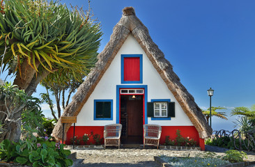 Front of a traditional cottage in Santana (Madeira, Portugal)