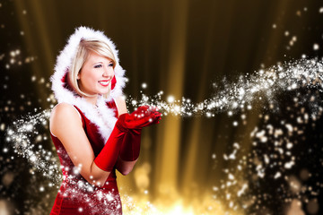 Weihnachtsfrau mit Sternchenstaub