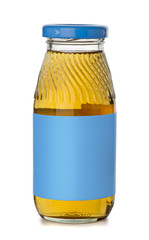 Small bottle of apple juice with blank blue label
