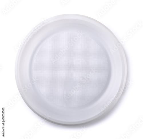 Top view of empty disposable plastic plate