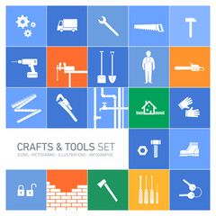 Vector square crafts and tools icon set