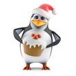 Penguin Santa Claus with a tasty Christmas Pudding